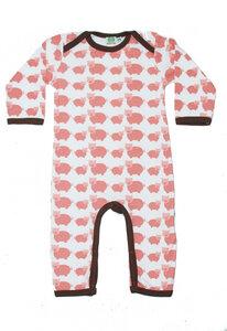 Baby Strampler Schlafanzug 'Pig' weiß-rosa-braun Jungen und Mädchen - Sture & Lisa