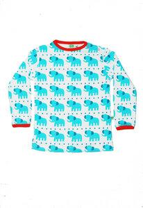 Langarm-Shirt 'Elephants' weiß-blau-rot für Jungen und Mädchen - Sture & Lisa
