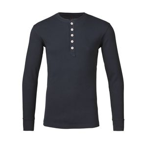 Rib Knit Henley Langarmshirt-dunkelblau - KnowledgeCotton Apparel