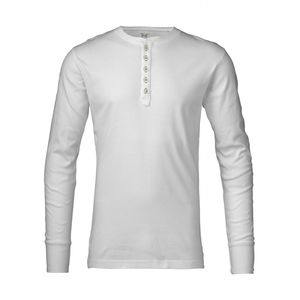 Rib Knit Henley Langarmshirt-White - KnowledgeCotton Apparel