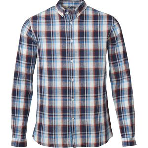 Checked Shirt Cotton/Line Dark Denim - KnowledgeCotton Apparel
