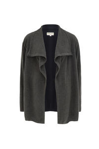 Cassia Longline Cardigan Dark grey melange - People Tree