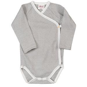 Baby Wickelbody Langarm grau-geringelt - People Wear Organic