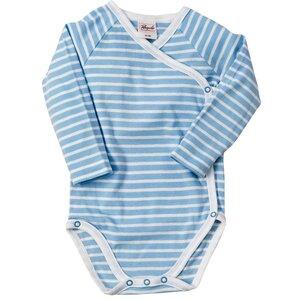 Baby Wickelbody Langarm blau-geringelt - People Wear Organic