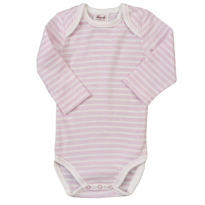 Baby Langarmbody rosa-gestreift - People Wear Organic