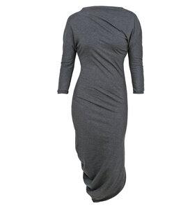 Kleid asymmetrisch anthrazit meliert - Lena Schokolade