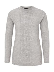 Cable Sweater Alpaka - light grey  - Les Racines Du Ciel