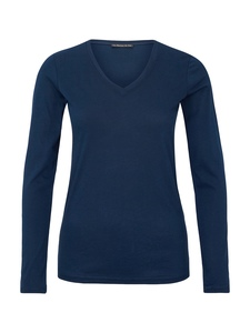 V-Neck Shirt Supima - blue - Les Racines Du Ciel