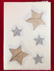 Set 4 Weihnachtskarten aus handgeschöpftem Maulbeerbaumpapier - Schönes aus Indochina