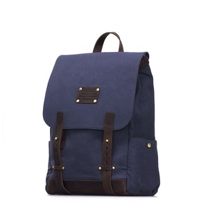 Mau's Backpack Navy waxed Canvas/ Eco dark brown - O MY BAG