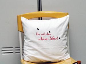 Bio-Kissenbezug 'her mit dem schönen leben!' 40*40cm - Hirschkind