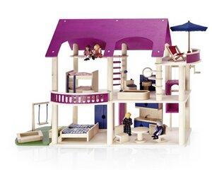 Puppenhaus 'Villa Lilly' lila  oder 'Villa Rossa' rot- wunderschön zum Spielen Komplett - Fairwerk Werkstäten