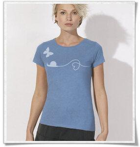 Schnecke & Schmetterling T-Shirt für Frauen in Blau - Picopoc