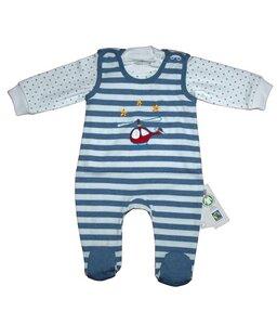 Baby Stramplerset blau gestreift Bio Baumwolle - EBi & EBi
