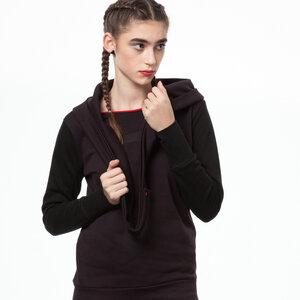 ThokkThokk TT1017 Wrap Hoody black/java woman  - THOKKTHOKK