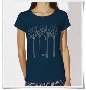 T-Shirt für Frauen Vogel im Wald in Navy / Dunkelblau - Picopoc