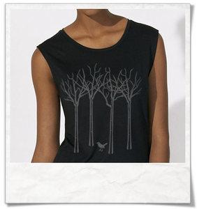 Vogel im Wald T-Shirt für Frauen / Schwarz - Picopoc