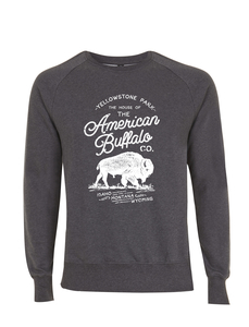 American Buffalo Co. Yellowstone Icon Vintage-Style Unisex Pullover - California Black Plate