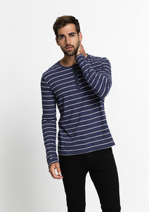 Longsleeve Henley #Stripes blue / grey melange  - recolution