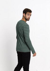 Longsleeve #Stripes green / grey melange  - recolution