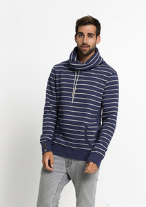 Hoodie TUBE COLLAR Stripes blue / grey melange - recolution