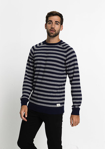 Strickpullover CREW NECK #STRIPES navy / grey - recolution