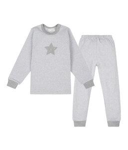 PETER PAN Pyjama mit Streifen aus Bio-Baumwolle grau meliert - sense-organics