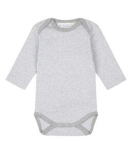 YGON Baby Langarm Wickelbody aus Bio-Baumwolle grau gestreift - sense-organics