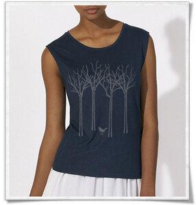 Vogel im Wald T-Shirt für Frauen / Navy blau / Dunkelblau - Picopoc