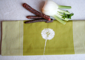 Fair-Trade-Geschirrtuch 'Pusteblume' grün - Hirschkind