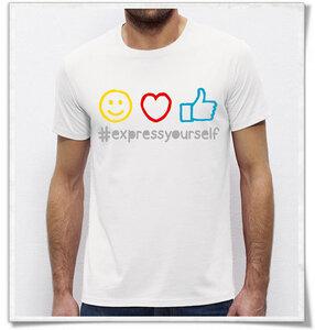 #expressyourself  emoji T-Shirt für Männer in Weiß - Picopoc