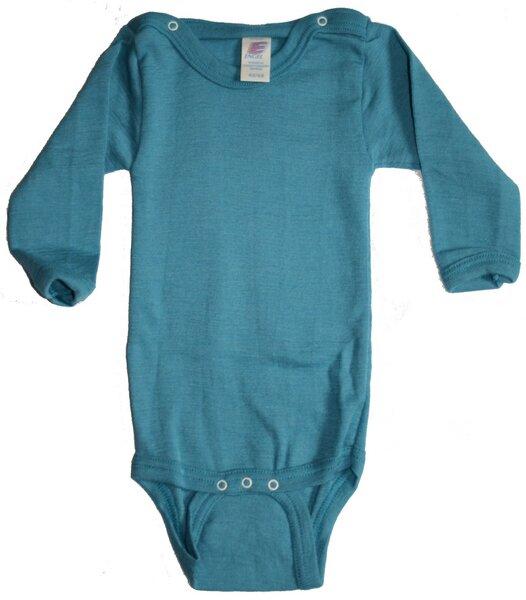 25c17db91de070 Engel natur - Langarm-Body Wolle-Seide türkis für Jungen und Mädchen ...