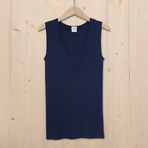Tank Top Wolle Seide - dunkel blau - People Wear Organic