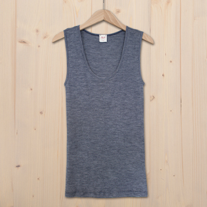 Tank Top Wolle Seide - dunkel blau melange - People Wear Organic