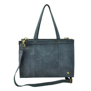 Elegante - Laptoptasche Rindsleder - graublau - MoreThanHip