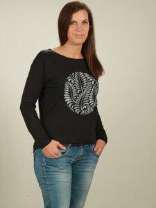 Longsleeve Oversize Damen - Leaves - black - NATIVE SOULS