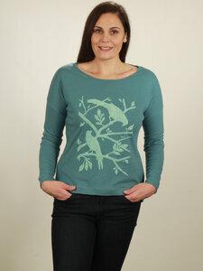 Longsleeve Oversize Damen - Birds - light turquoise - NATIVE SOULS