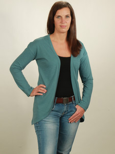 Slub Cardigan Damen - light turquoise - NATIVE SOULS