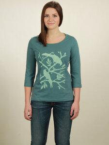 Longsleeve 3/4-Arm Damen - Birds - light turquoise - NATIVE SOULS