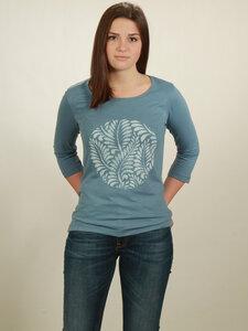 Longsleeve 3/4-Arm Damen - Leaves - light blue - NATIVE SOULS