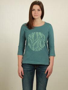 Longsleeve 3/4-Arm Damen - Leaves - light turquoise - NATIVE SOULS