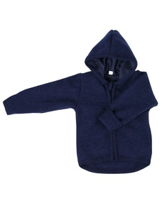 Baby u. Kinder Wollwalk Kapuzenjacke dunkelblau - iobio