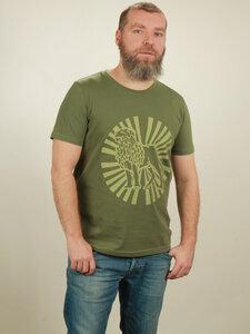 T-Shirt Herren - Lion Sun - green - NATIVE SOULS