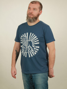 T-Shirt Herren - Lion Sun - dark blue - NATIVE SOULS