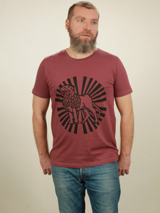 T-Shirt Herren - Lion Sun - berry - NATIVE SOULS