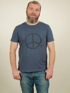 Slub T-Shirt Herren - Peace - dark blue - NATIVE SOULS