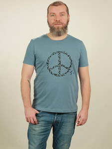 Slub T-Shirt Herren - Peace - light blue - NATIVE SOULS