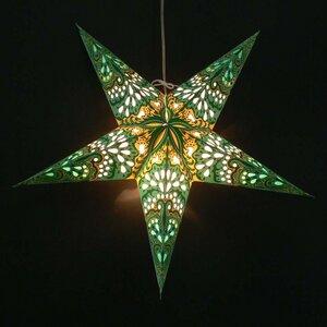 Weihnachtsstern aus Papier - inkl. Beleuchtungsset -Amisha - grün/gelb - MoreThanHip
