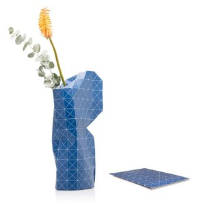 Paper Vase Cover - Dutch Design Papiervase - Blue grid - Pepe Heykoop