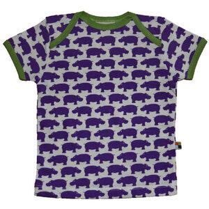 loud+proud Bio Kurzarm Shirt mit lila Nilpferden - loud + proud